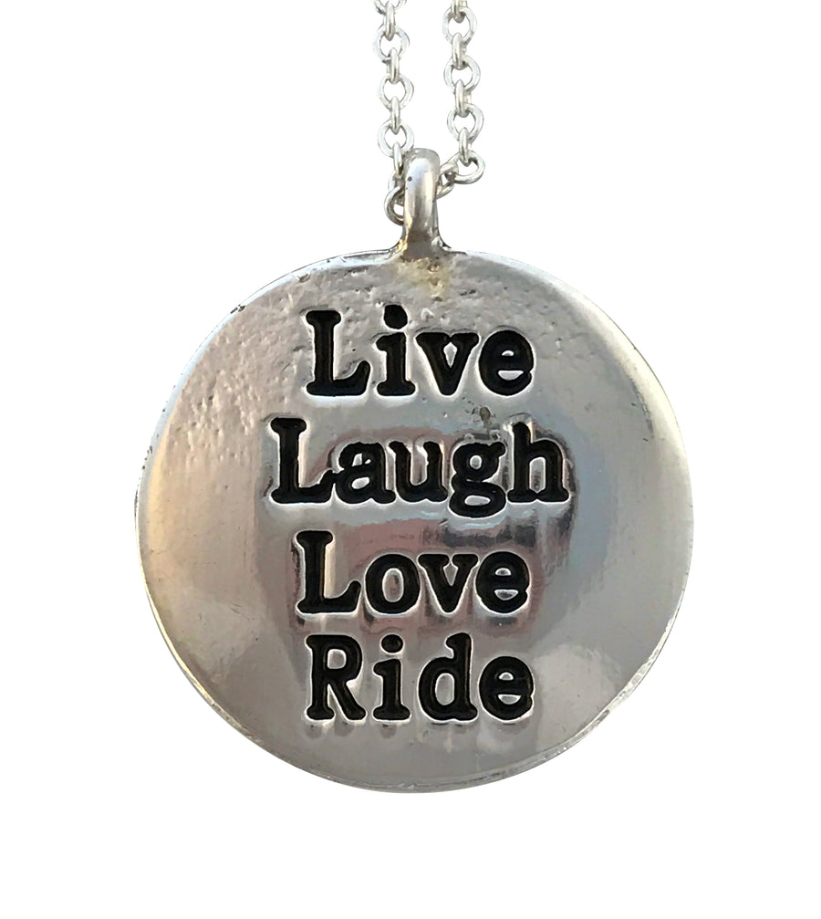Live Laugh Love Ride Necklace, 17 Inches