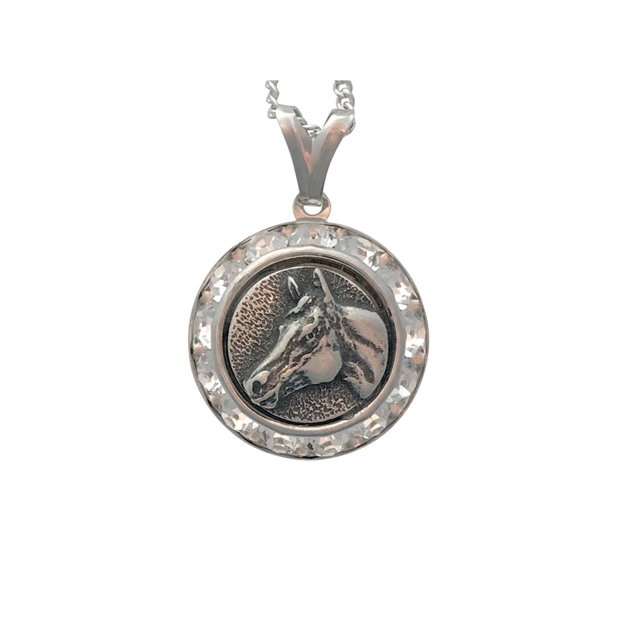 Quarter Horse Head Pendant Necklace With Swarovski, 20 Inches