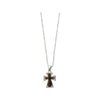 Hair On Hide Cowhide And Crystal Cross Pendant Necklace, 16 Inches