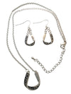 Silver Tone Western Folded Horseshoe Necklace and Earring Set, 18 Inches