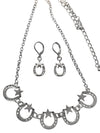 Silver Finished Lonestar Horseshoe Necklace and Earring Set, 17 Inches