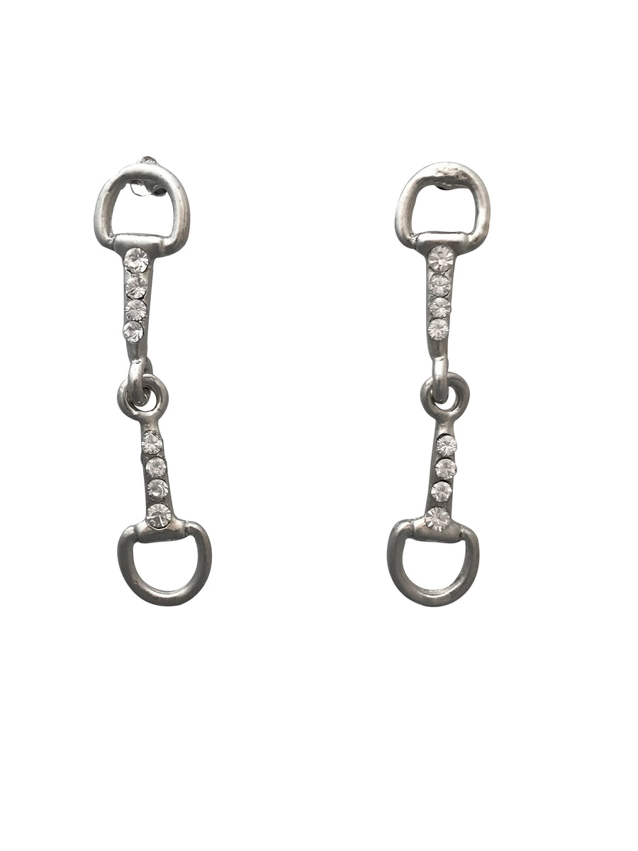 Crystal Snaffle Bit Necklace and Earring Set, 20 Inches