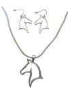 Horse Head Outline Necklace and Earring Set, 16 Inches