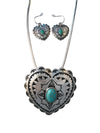Large Heart Necklace and Earring Set, 16 Inches