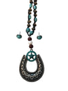 Half Beaded Horseshoe Star Necklace and Earring Set, 30 Inches