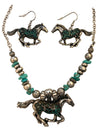 Antiqued Patina Horse Necklace and Earring Set, 16 Inches
