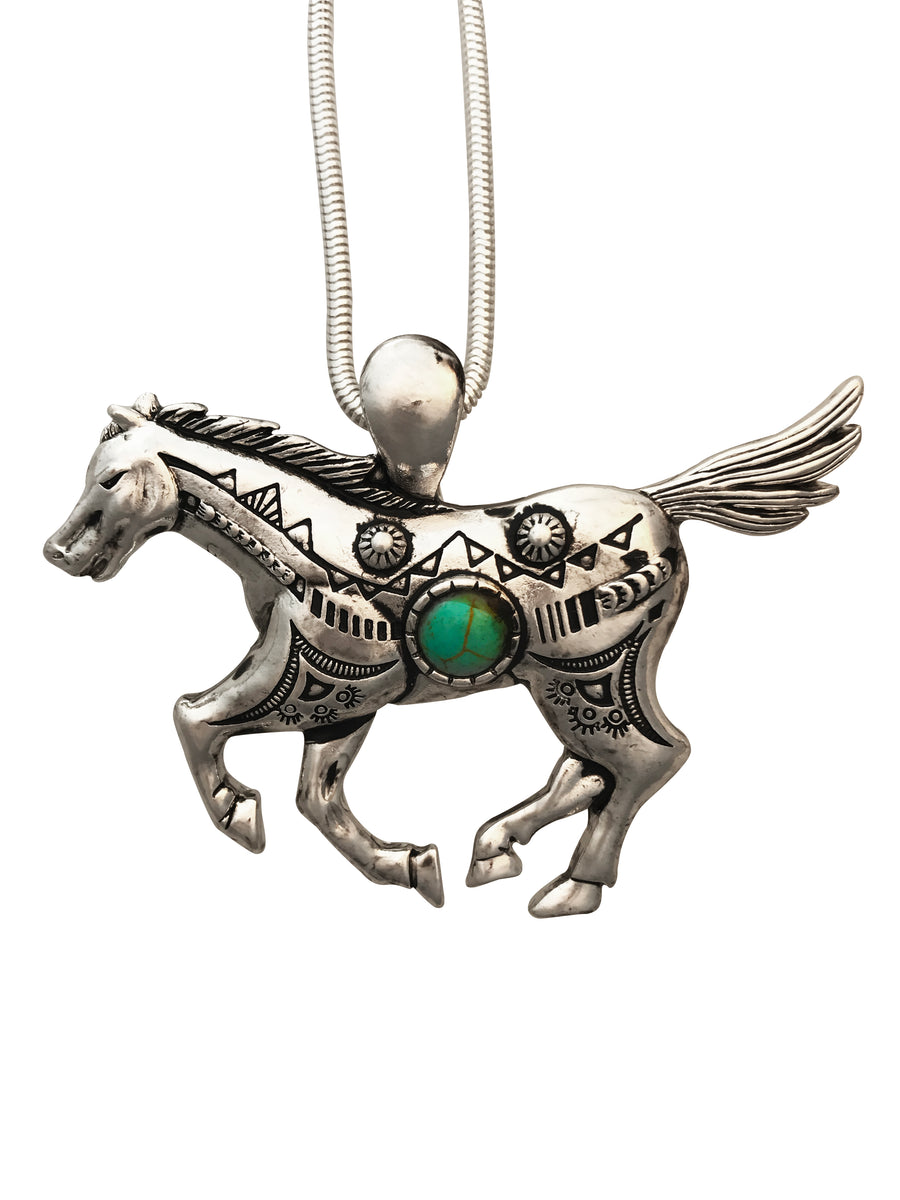 Southwestern Horse Necklace and Earring Set, 16 Inches