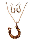 Smoked Topaz Horseshoe Necklace and Earring Set, 16 Inches