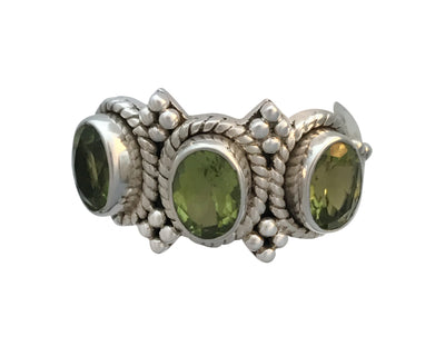Antique Sterling Silver and Natural Peridot Ring, Size 8