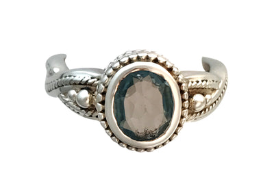 Antique Sterling Silver and Irradiated Sky Blue Topaz Ring, Size 8