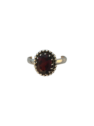 Antiqued Sterling Silver and Natural Garnet Ring, Size 7