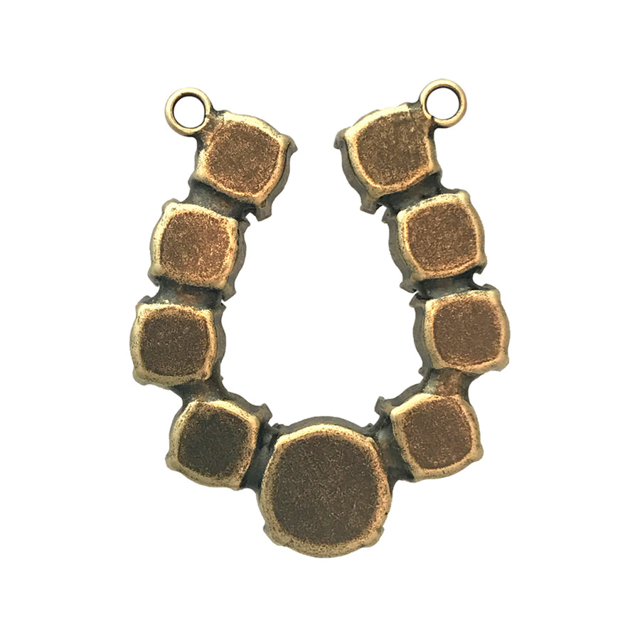 SS39 and 12mm Antique Brass Horseshoe Pendant Base