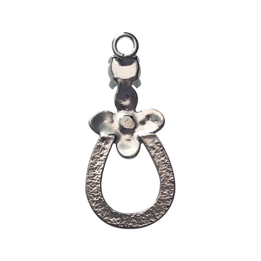 Rhodium Colored Mixed Size Antique Silver Flower and Horseshoe Drop Pendant Base