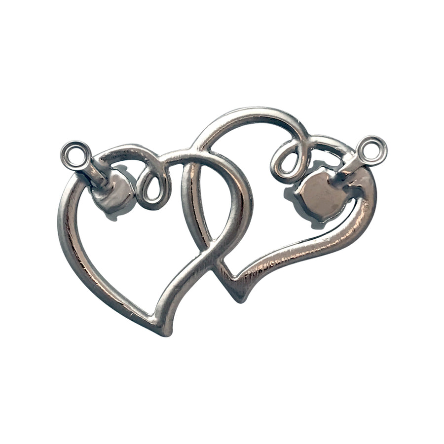 SS24, SS29 Rhodium Color Double Heart Pendant Base