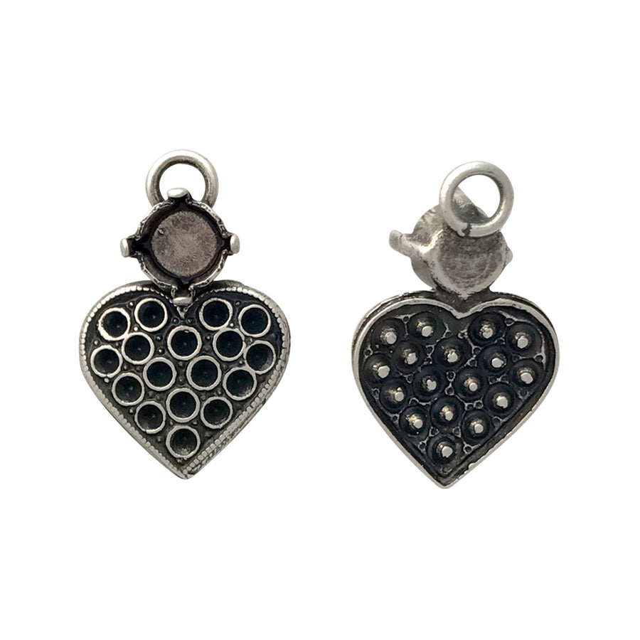 PP8, SS29 Antique Silver Heart Pendant Base
