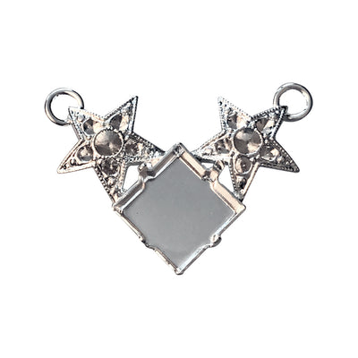PP14, PP24, 12mm Shiny Silver Princess Square and Stars Pendant Base