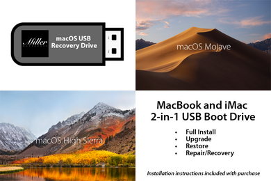 macOS 2-in-1 Combo Drive - 10.14 macOS Mojave and 10.13 macOS High Sierra - Full Install, Upgrade, Recovery, Reinstall - Bootable USB Drive