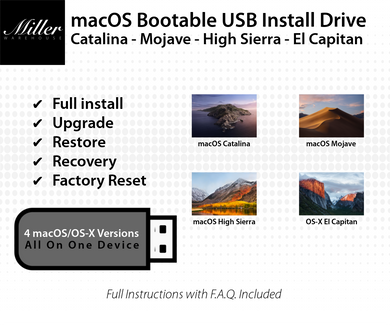 macOS 4-in-1 Bootable USB Install Drive - Catalina, Mojave, High Sierra, El Capitan