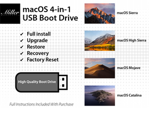 macOS 4-in-1 Bootable USB Install Drive - Catalina, Mojave, High Sierra, Sierra