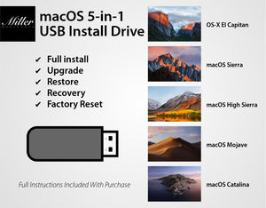 macOS 5-in-1 Bootable USB Install Drive - 10.15 Catalina, 10.14 Mojave, 10.13 High Sierra, 10.12 Sierra, 10.11 El Capitan - Full Install, Upgrade, Recovery, Repair