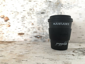 "Bamboo Travel Cup: Black ""#JUSTJUICE"" 12oz (350ml)"