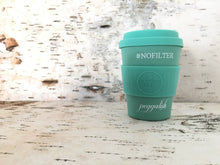 "Bamboo Travel Cup: Aqua ""#NOFILTER"" 12oz (350ml)"