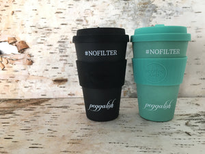 "Bamboo Travel Cup Twinning Set: Aqua & Black ""NOFILTER"""