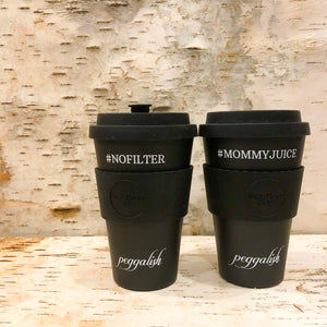 "Bamboo Cup Twinning Set: Black ""NOFILTER"" + ""#MOMMYJUICE"""