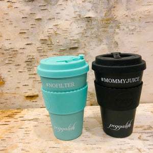 "Bamboo Cup Twinning Set: Aqua ""#NOFILTER"" + '#MOMMYJUICE'"