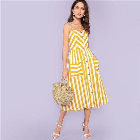 039ea1cd902 Striped Button Up Front Pockets Dress
