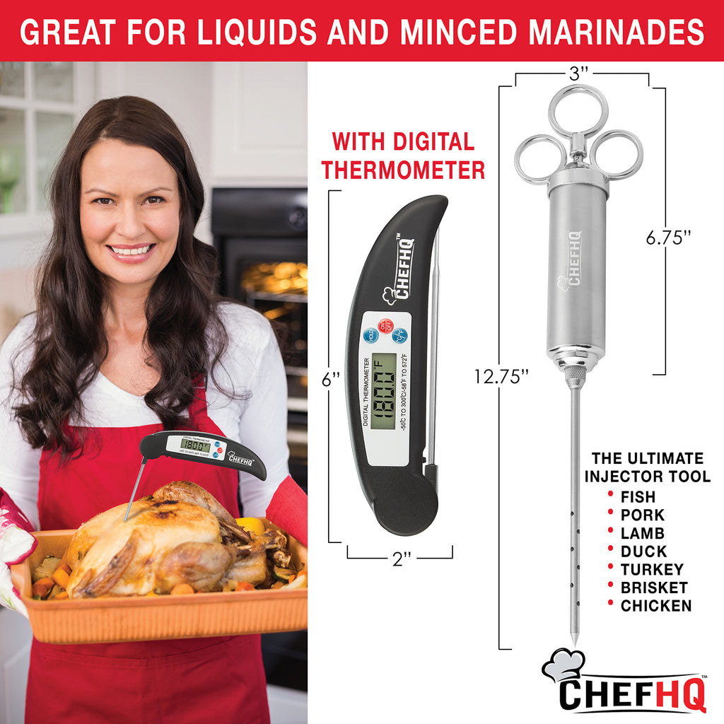 CHEFHQ Marinade Meat Injector Kit with Meat Thermometer Stainless Steel Food I