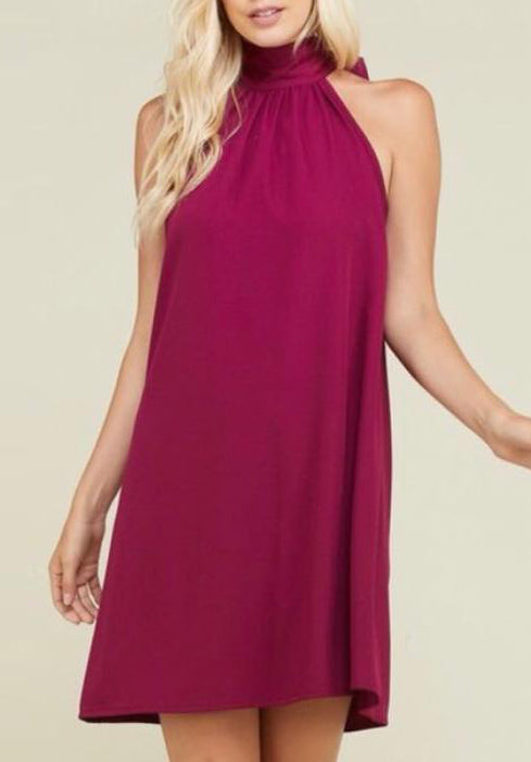 Wine Halter Dress