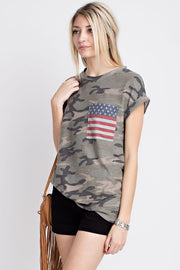 Camo & Stripes Pocket Tee