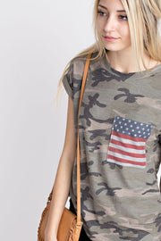 Camo & Stripes Pocket Tee - Melissa Jean Boutique
