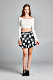 Plaid Black and White Skirt - Melissa Jean Boutique