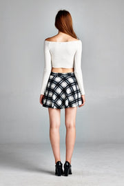 Plaid Black and White Skirt
