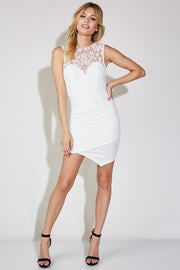 Crochet Detail Off White Mini Dress