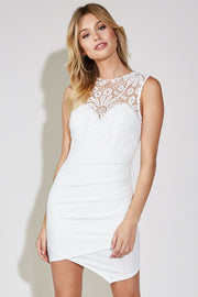 Crochet Detail Off White Mini Dress - Melissa Jean Boutique