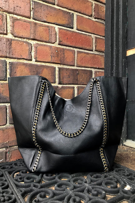 Black Vegan Tote Bag - Melissa Jean Boutique