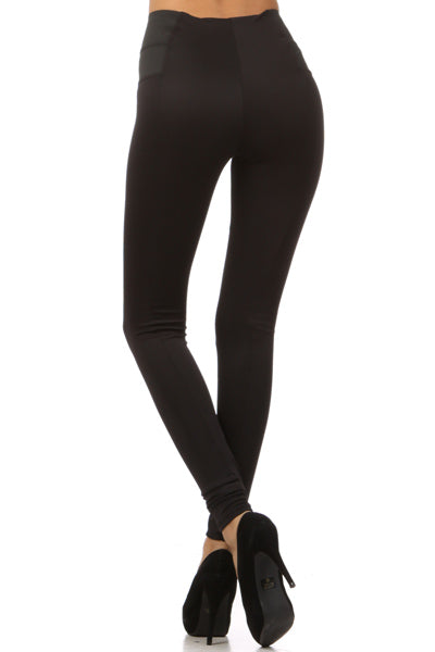Knit Black Leggings with Contrast Side Panels
