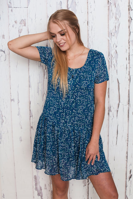 Ditsy Blue Smock Dress - Melissa Jean Boutique