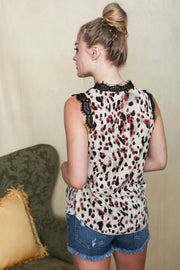 Leopard & Lace Multi Color Top - Melissa Jean Boutique