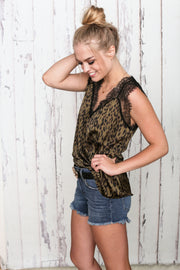 Leopard and Lace Green Tank - Melissa Jean Boutique
