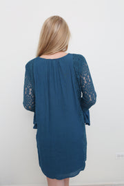 Teal Woven & Lace Dress - Melissa Jean Boutique