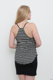 Black & White Stripe Surplice Tank - Melissa Jean Boutique
