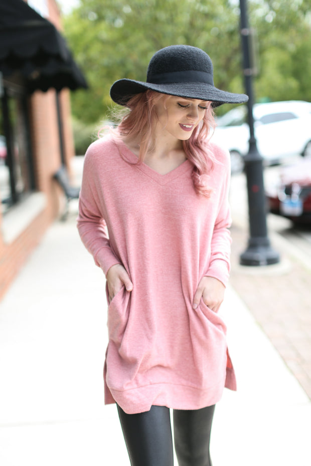 Dusty Rose V-Neck Sweater - Melissa Jean Boutique