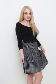 Striped Flared Hem Skirt - Melissa Jean Boutique