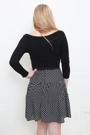 Striped Flared Hem Skirt