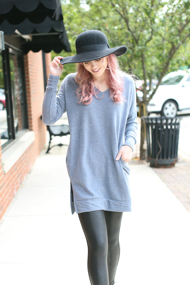 Cement V-Neck Sweater with Pockets - Melissa Jean Boutique