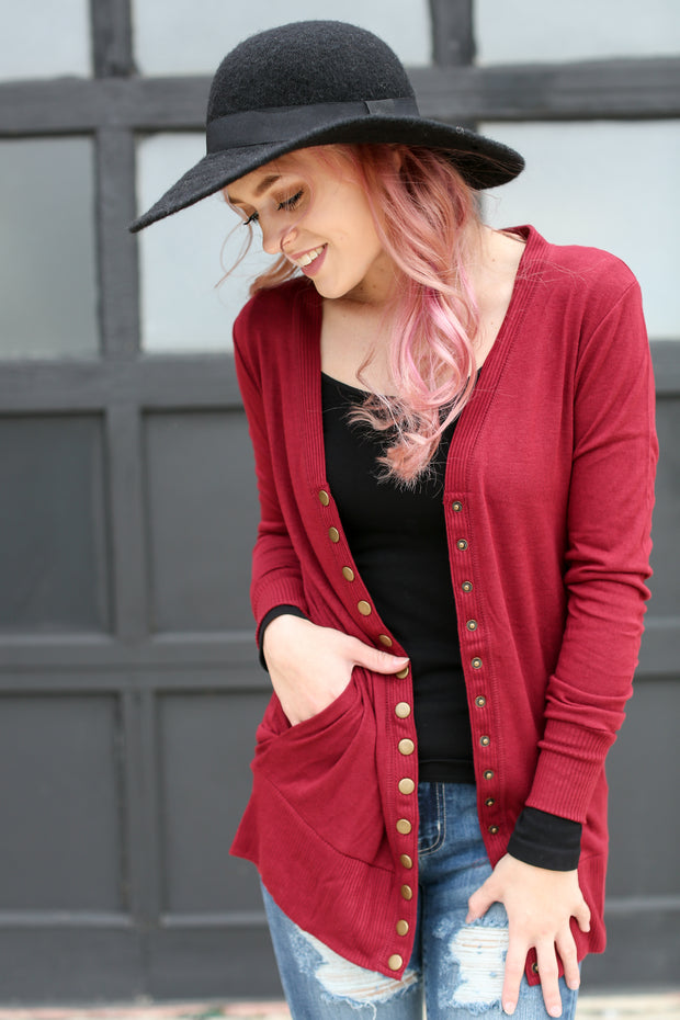 Cabernet Red Snap Cardigan with Pockets - Melissa Jean Boutique